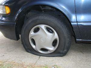 flat tire public domain picture Wikimedia